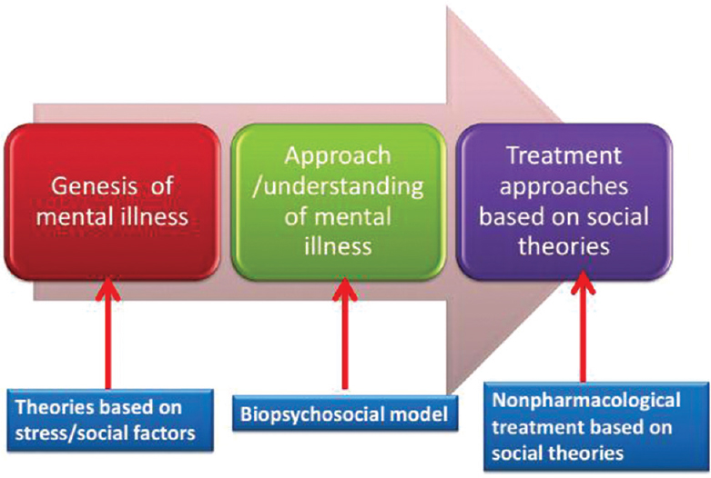 Figure 1: Application of social theories in current psychiatric practice